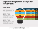 Free Light Bulb Diagram with Six Steps for PowerPoint