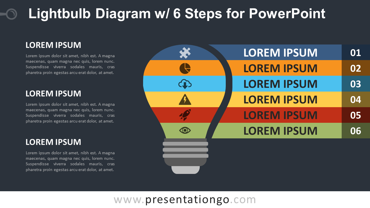 Free Light Bulb PowerPoint Diagram with 6 Steps - Dark Background