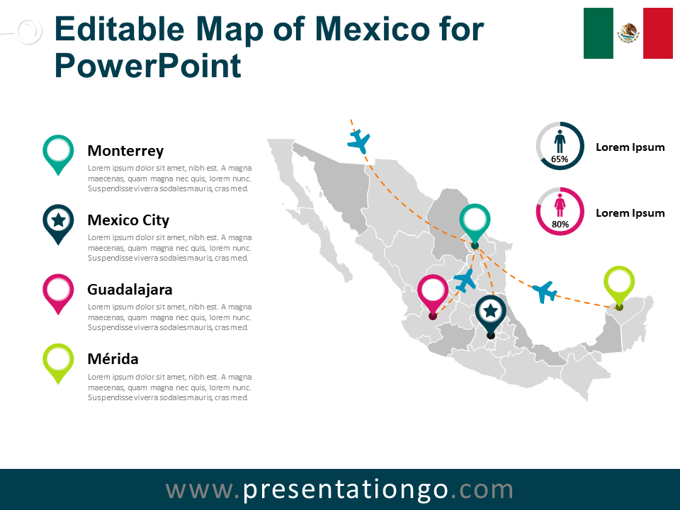 Free Map of Mexico for PowerPoint