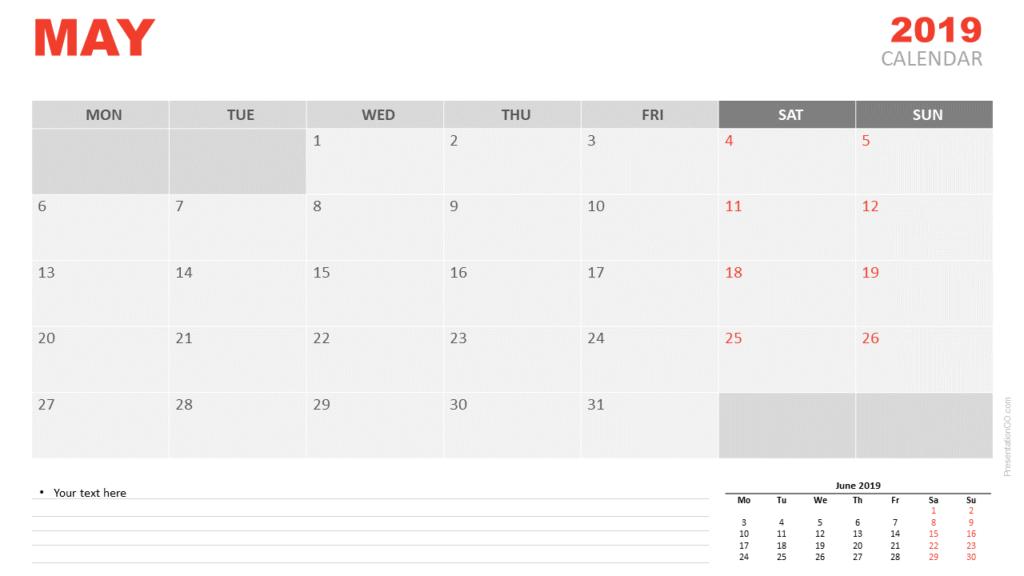 May 2019 Calendar PowerPoint (Monday)