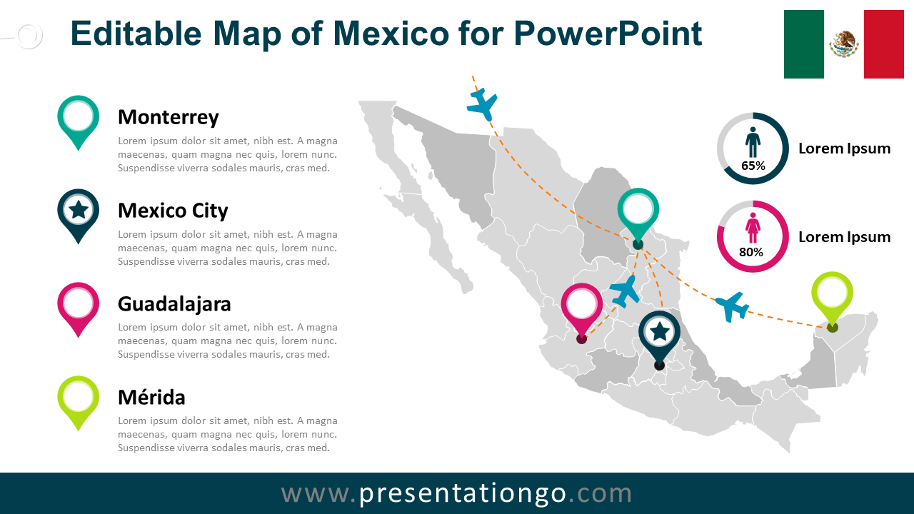 Free Mexico Map for PowerPoint