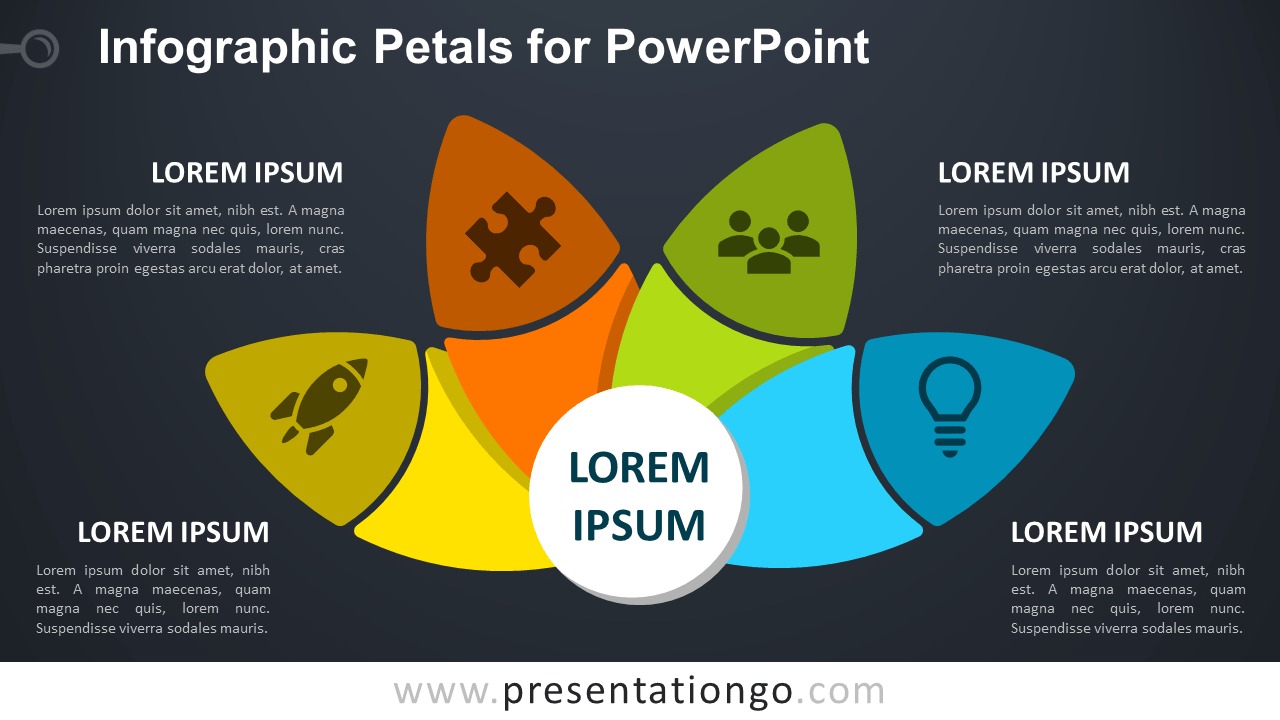 Free Petals Diagram for PowerPoint - Dark Background