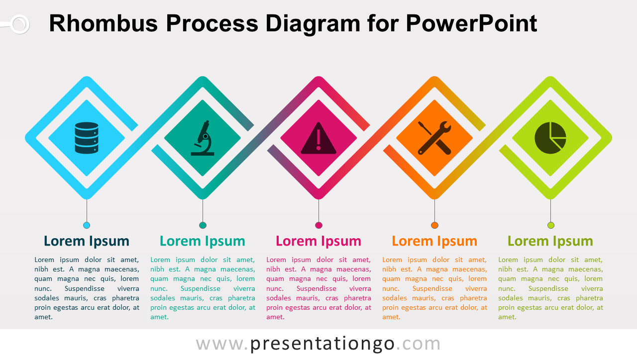 Free Rhombus Process for PowerPoint (Gradient)