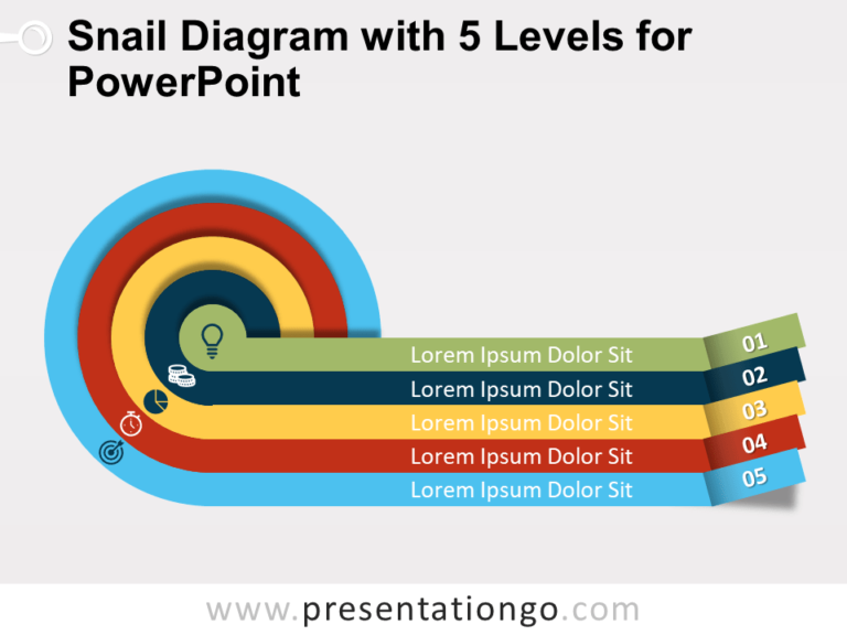 Free Snail Diagram with Five Levels for PowerPoint