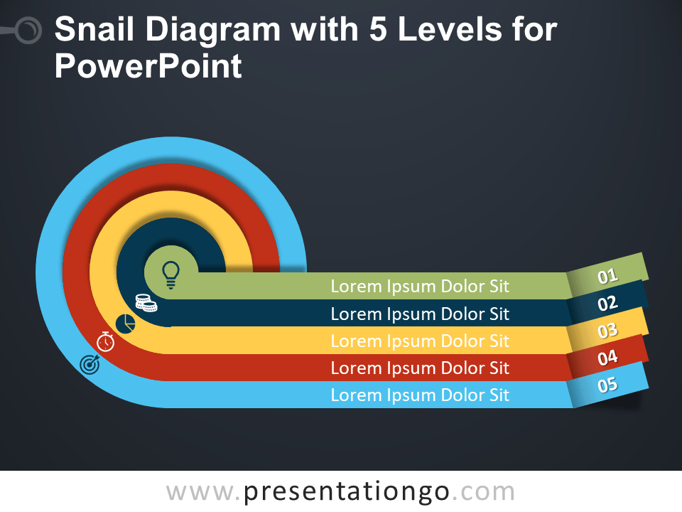 Free Snail Diagram with Five Levels for PowerPoint - Dark Background