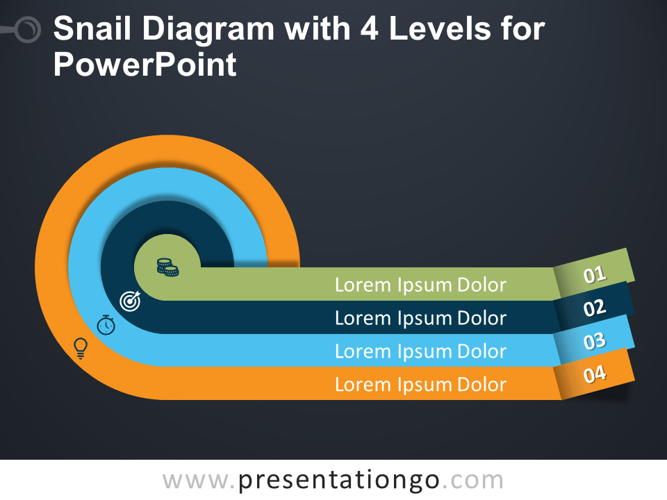 Free Snail Diagram with Four Levels for PowerPoint - Dark Background