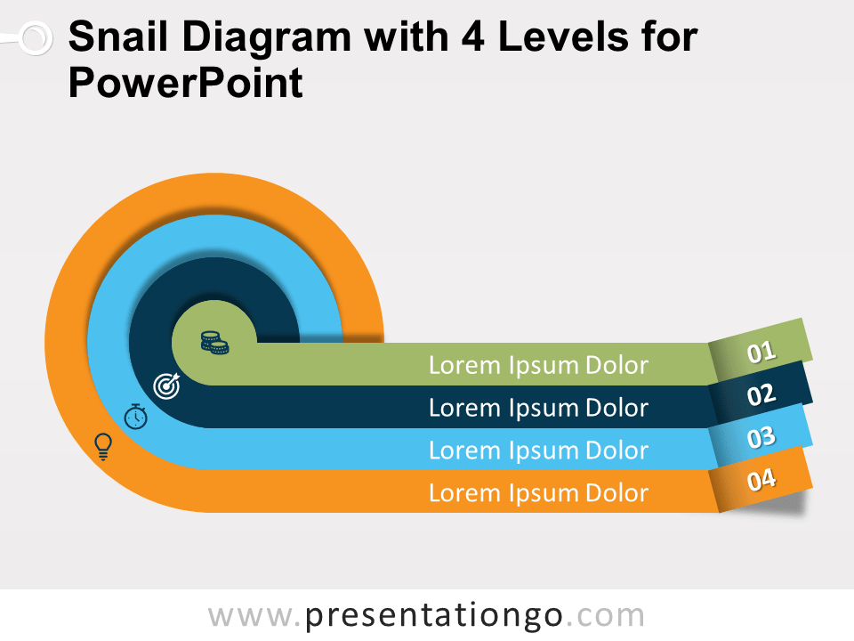 Snail Diagram With 4 Levels For Powerpoint Presentationgo