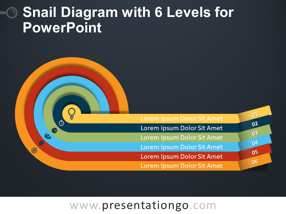 Free Snail Diagram with Six Levels for PowerPoint - Dark Background