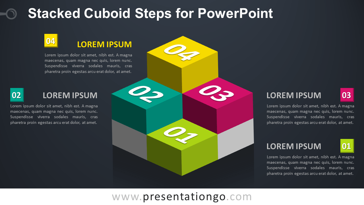 Free Stacked Cuboids for PowerPoint - Dark Background