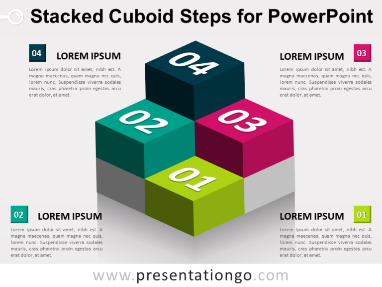 Free Stacked Cuboid Steps for PowerPoint