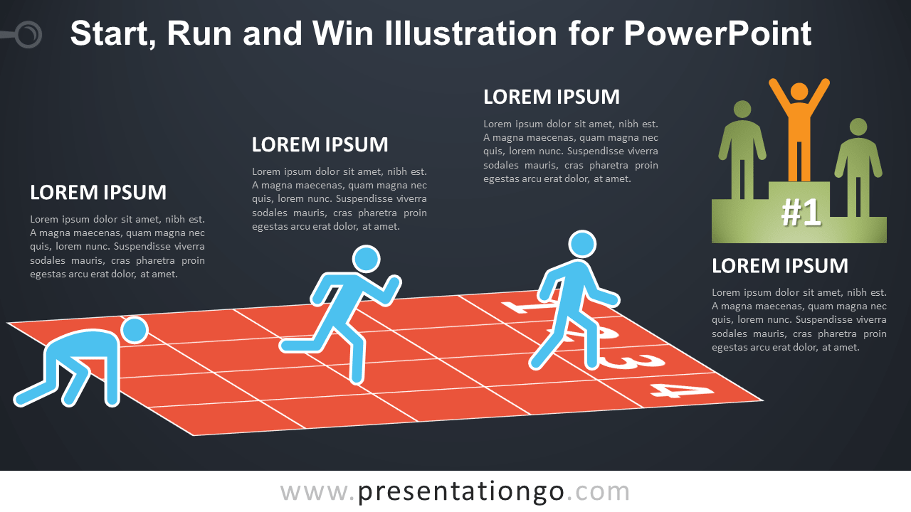 Start, Run and Win Illustration for PowerPoint - Dark Background