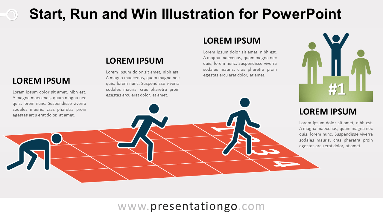 Start, Run and Win Illustration for PowerPoint