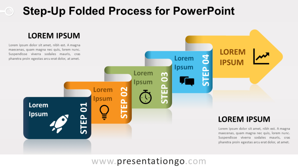 Free Step-Up Folded Process Diagram for PowerPoint