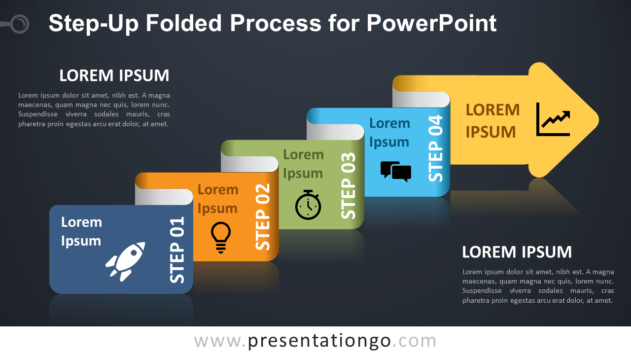 Free Step-Up Folded Process Diagram for PowerPoint - Dark Background