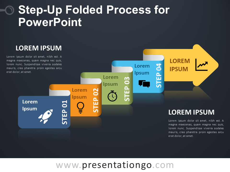 Free Step-Up Folded Process for PowerPoint - Dark Background