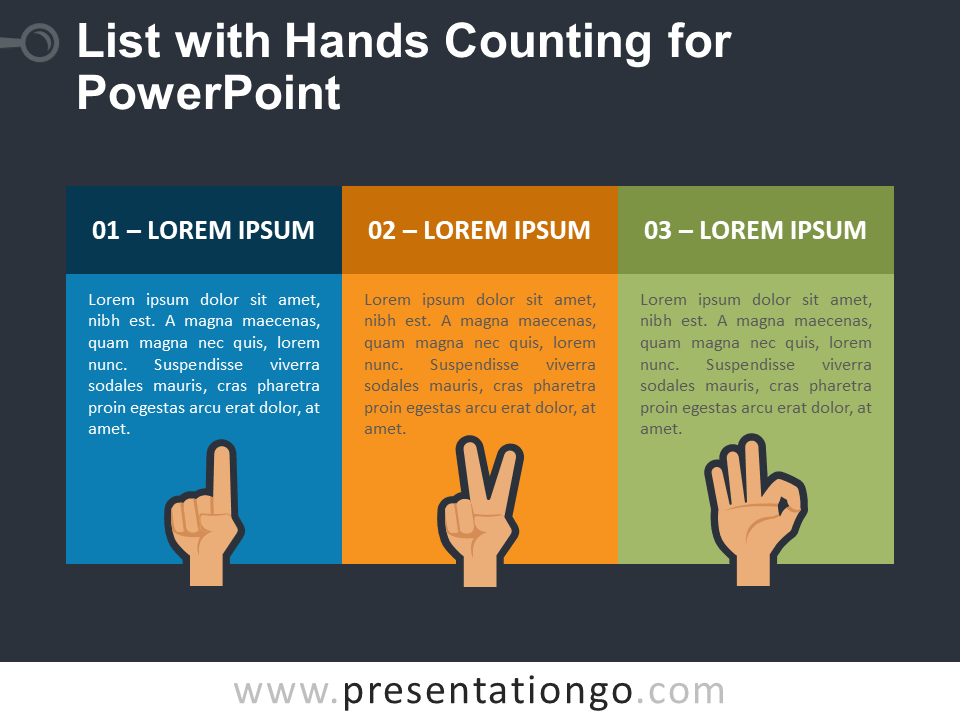 3 Text Boxes with Hands Counting for PowerPoint - Dark Background