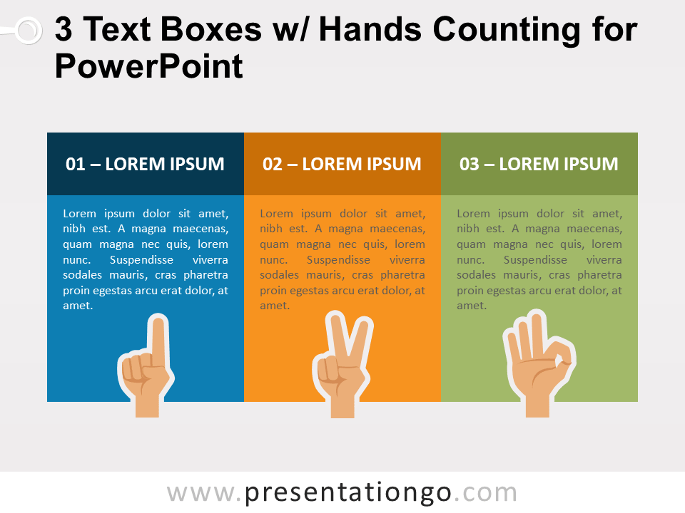 3 Text Boxes with Hands Counting for PowerPoint
