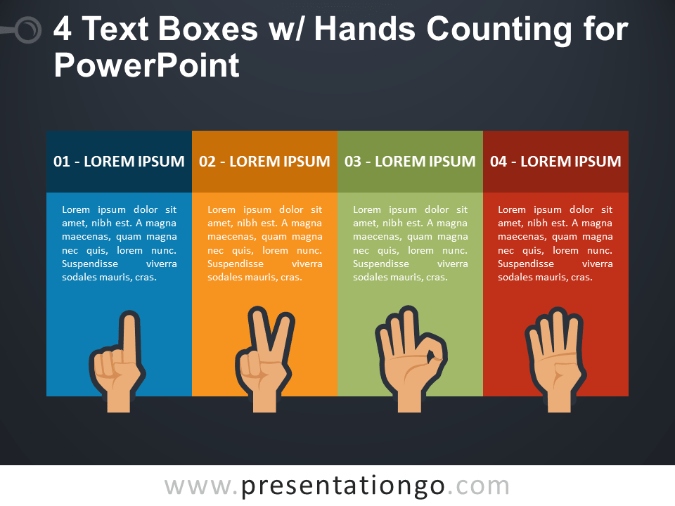 4 Text Boxes with Hands Counting for PowerPoint - Dark Background