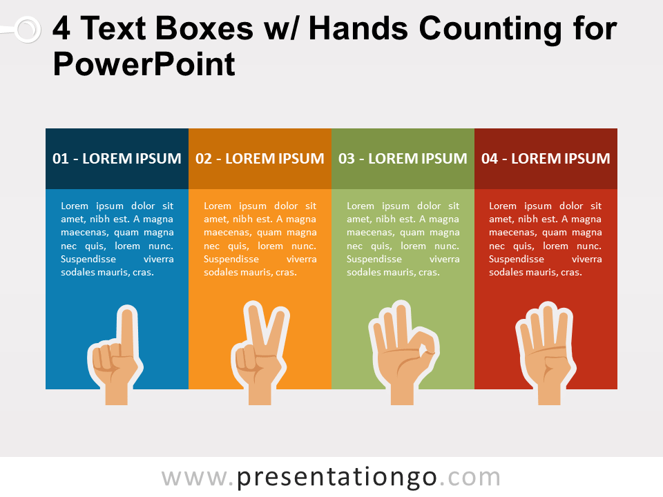 4 Text Boxes with Hands Counting for PowerPoint
