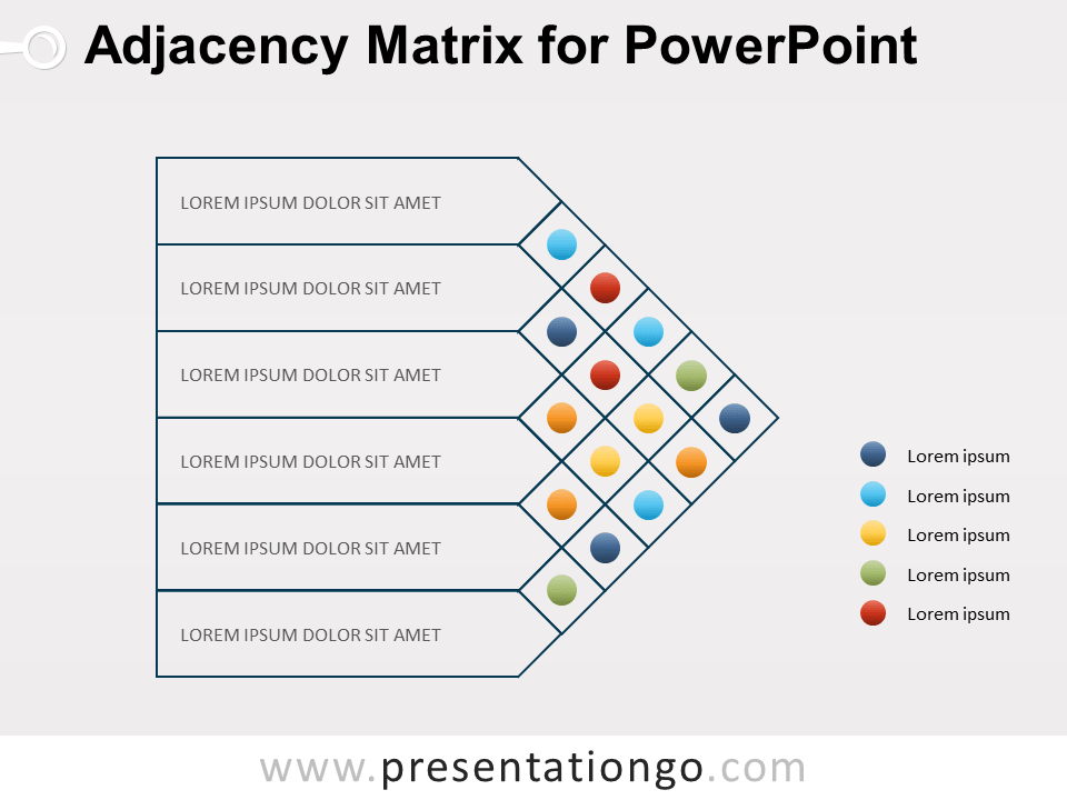 Adjacency Matrix Diagram For Powerpoint Presentationgo Com