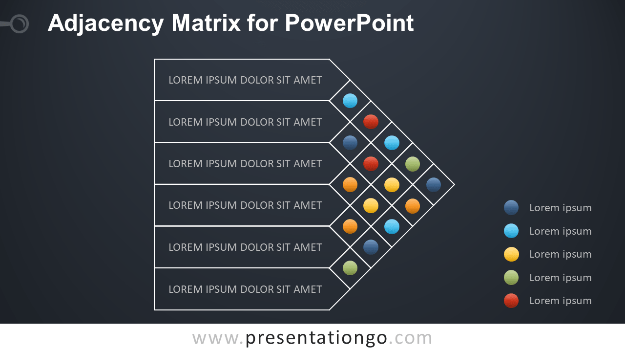 Adjacency Matrix for PowerPoint - Dark Background