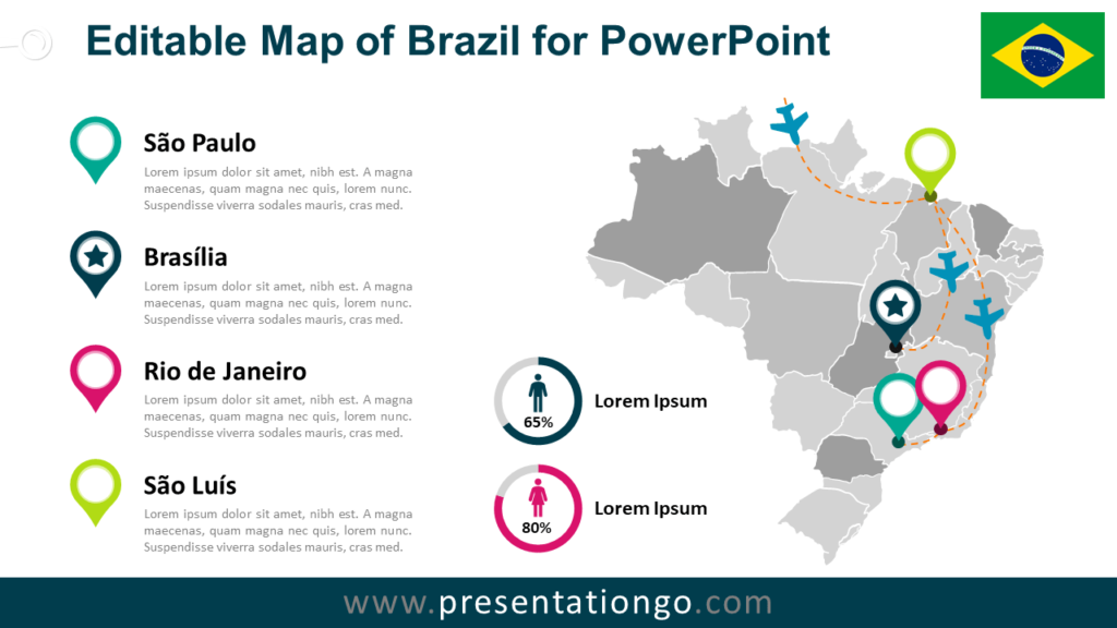 Free Brazil Map for PowerPoint