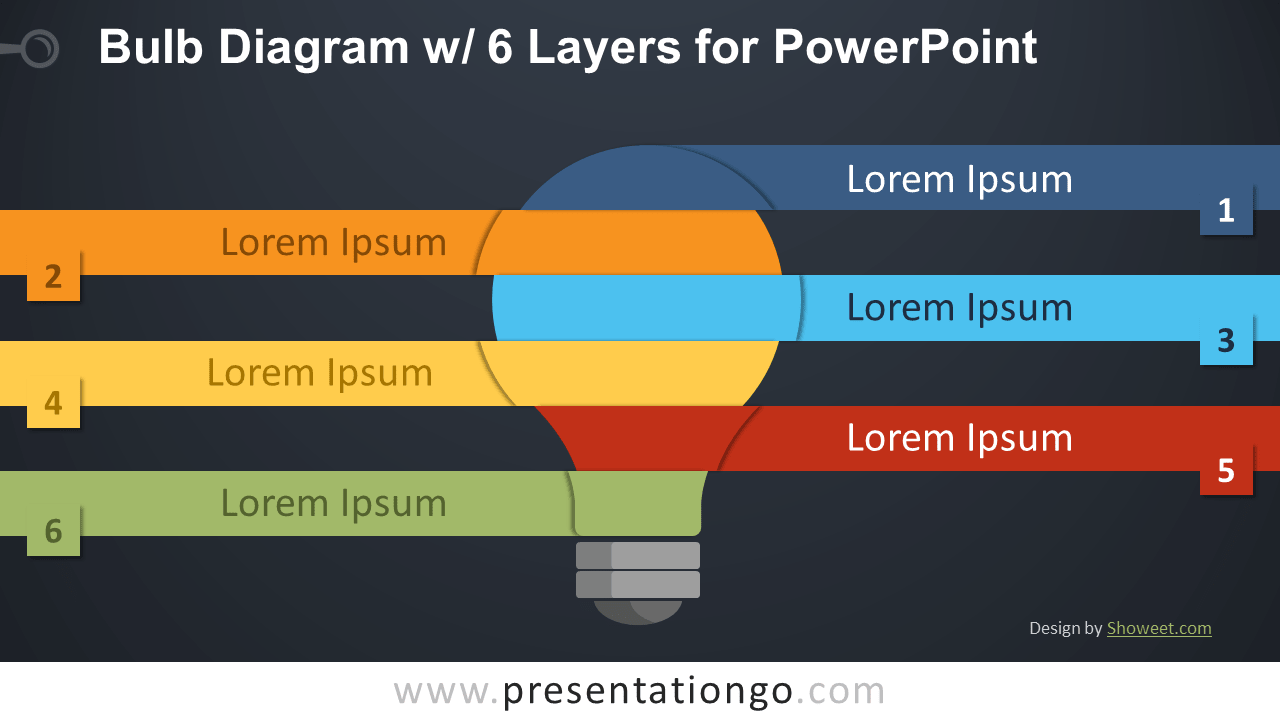 Free Bulb with 6 Layers for PowerPoint - Dark Background