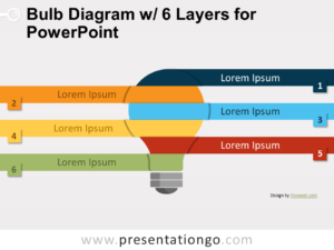 Free Bulb Diagram with 6 Layers for PowerPoint