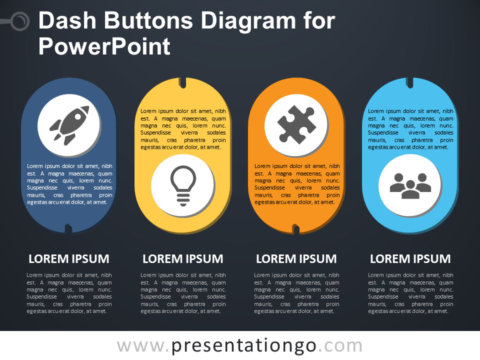 Dash Buttons - Free Diagram for PowerPoint - Dark Background