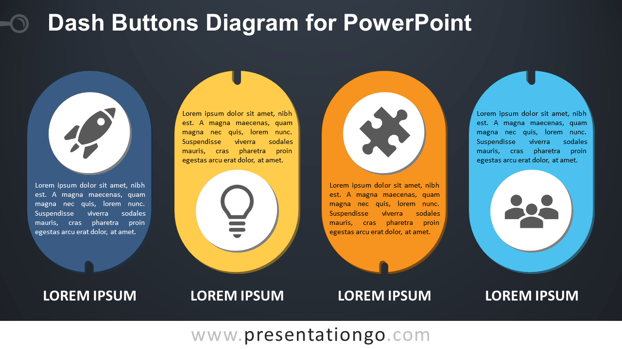 Free Dash Buttons for PowerPoint - Dark Background