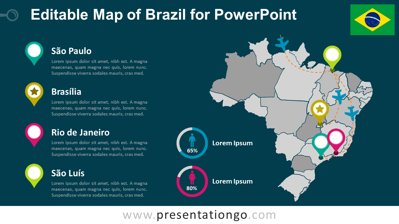 Editable Brazil Map for PowerPoint