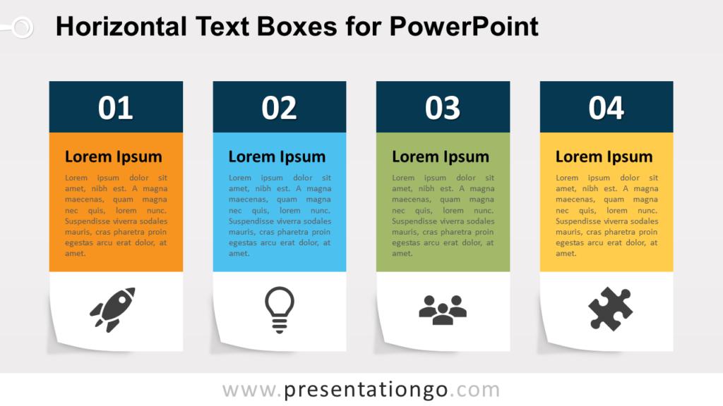 Four Horizontal Text Boxes for PowerPoint