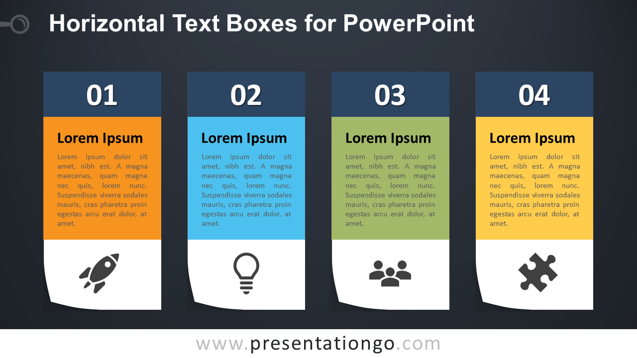 Four Horizontal Text Boxes for PowerPoint - Dark Background