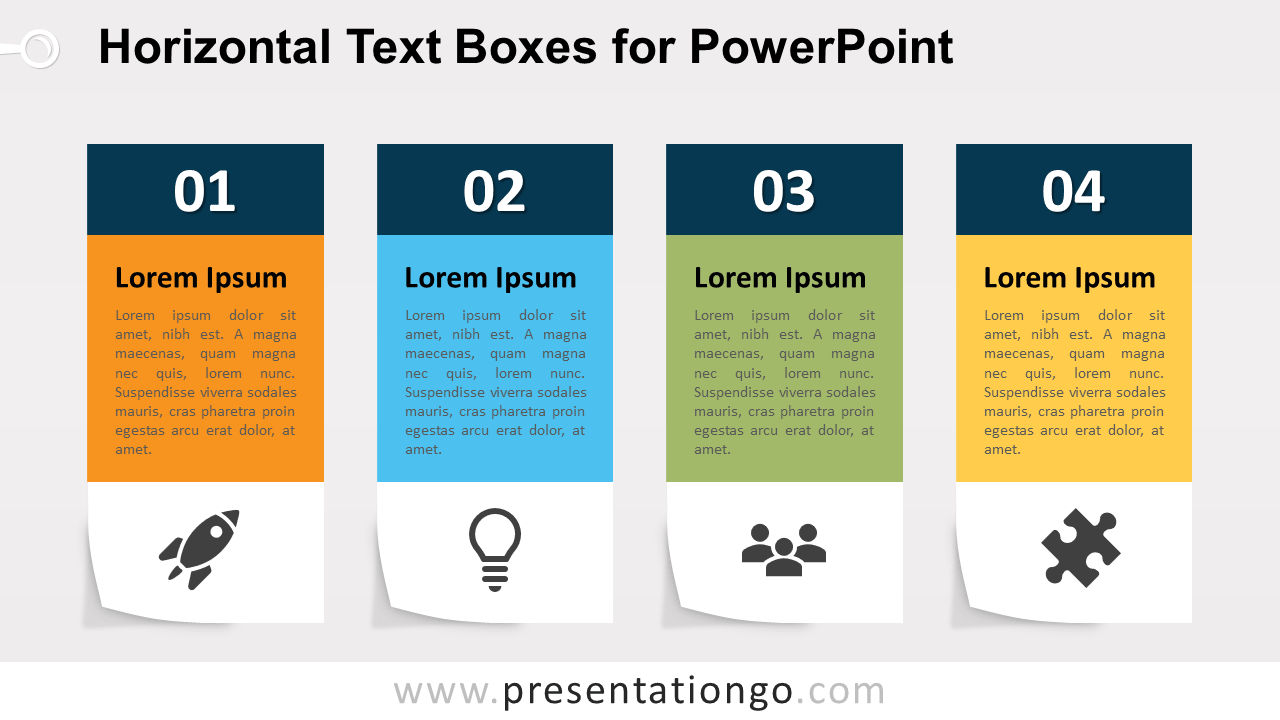 Four Horizontal Text Boxes for PowerPoint