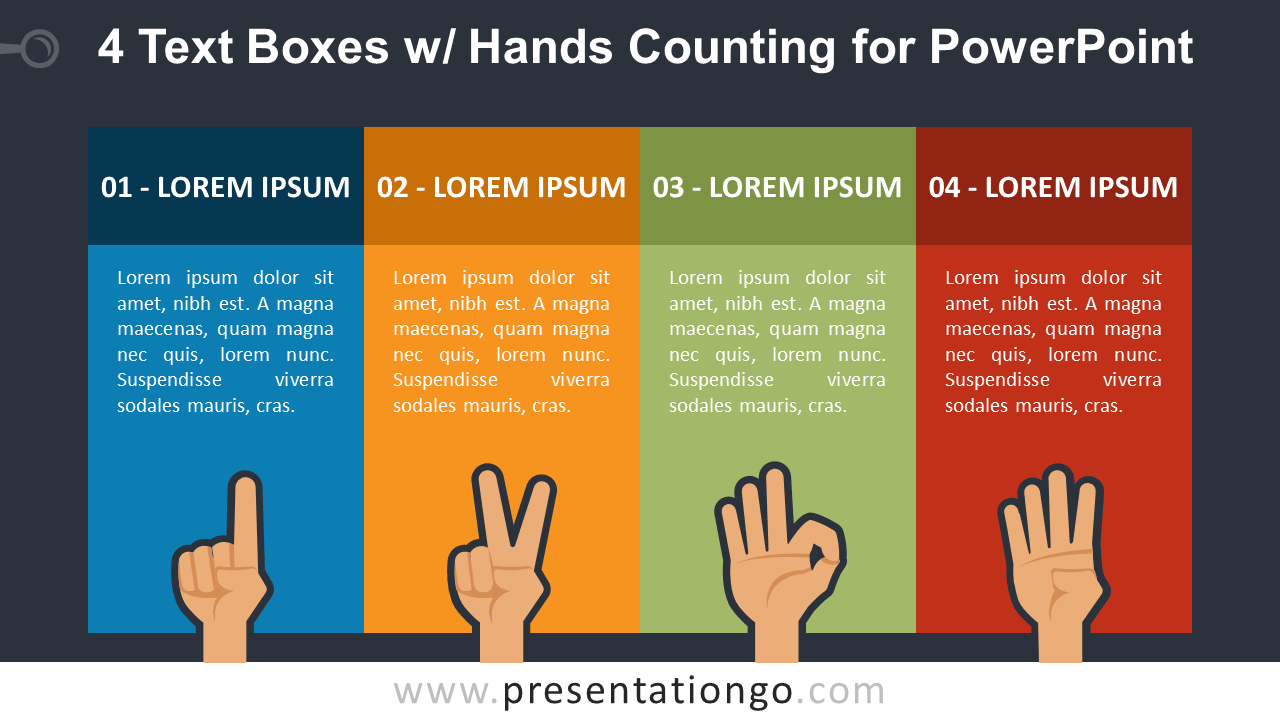 Four Text Boxes with Finger-Counting for PowerPoint - Dark Background