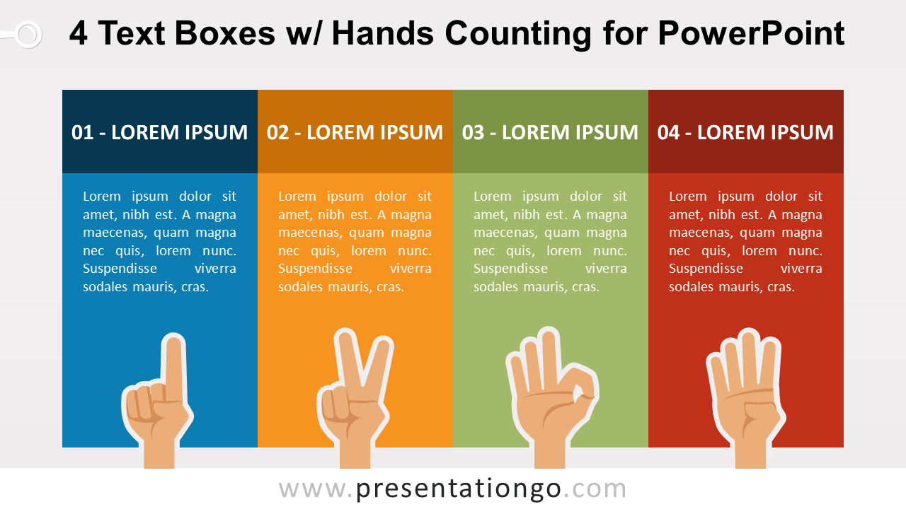 Four Text Boxes with Finger-Counting for PowerPoint