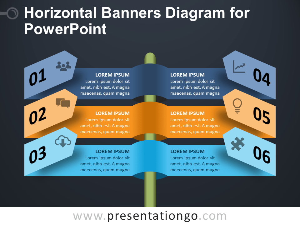 Free Horizontal Banners Diagram for PowerPoint - Dark Background