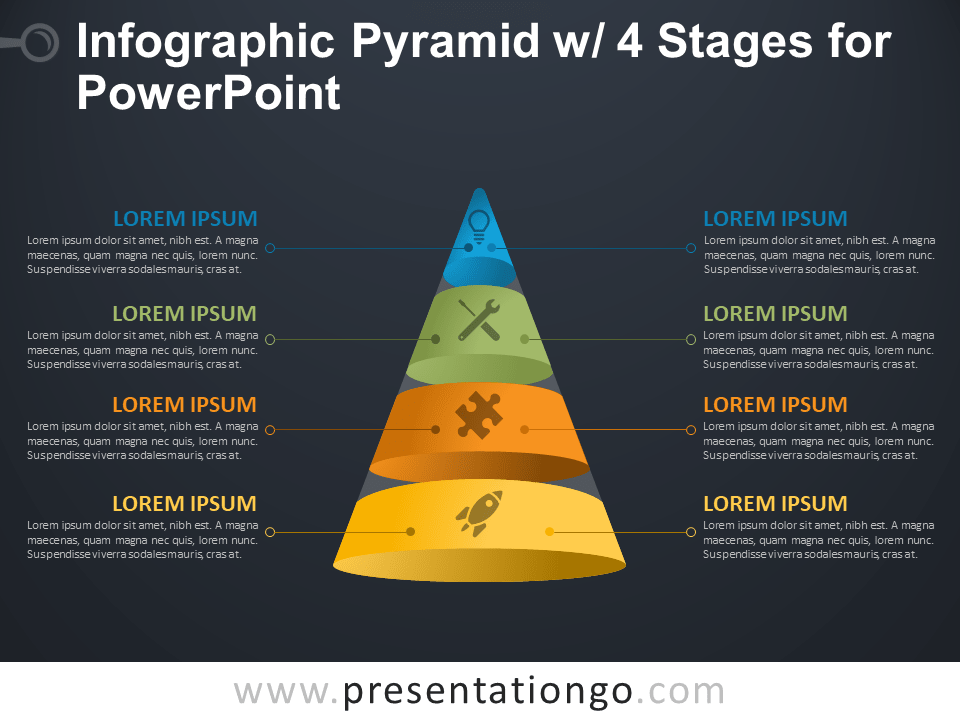 Free Infographic Pyramid with 4 Stages for PowerPoint - Dark Background