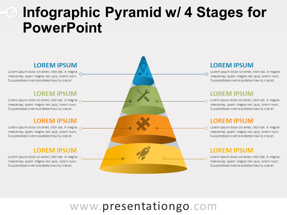 Free Infographic Pyramid with 4 Stages for PowerPoint