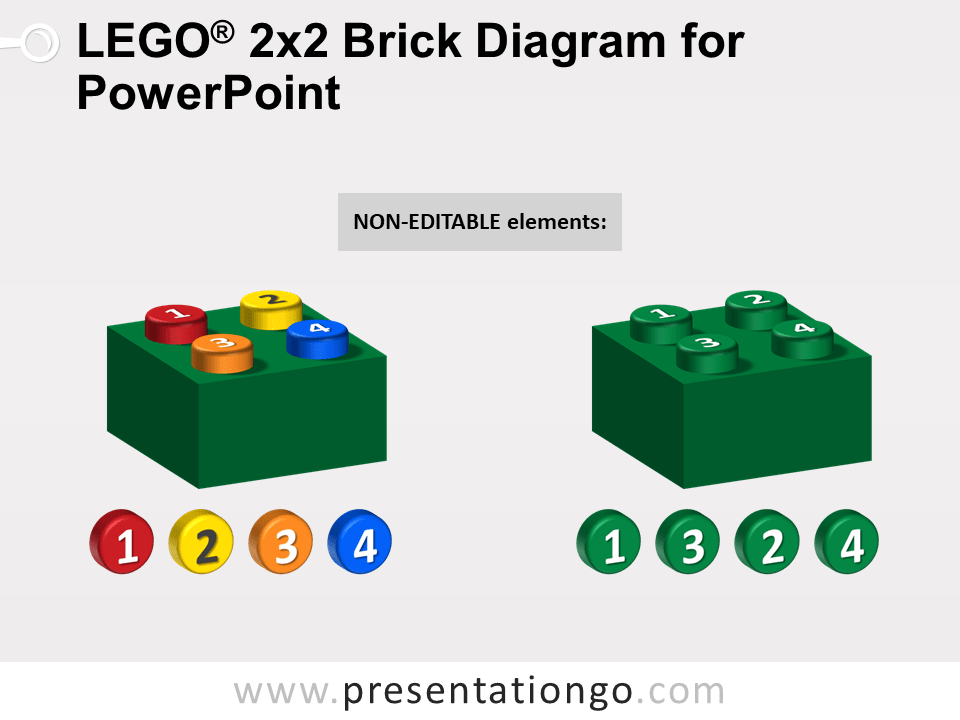 Lego 2x2 Brick Diagram for PowerPoint - Not Editable Elements