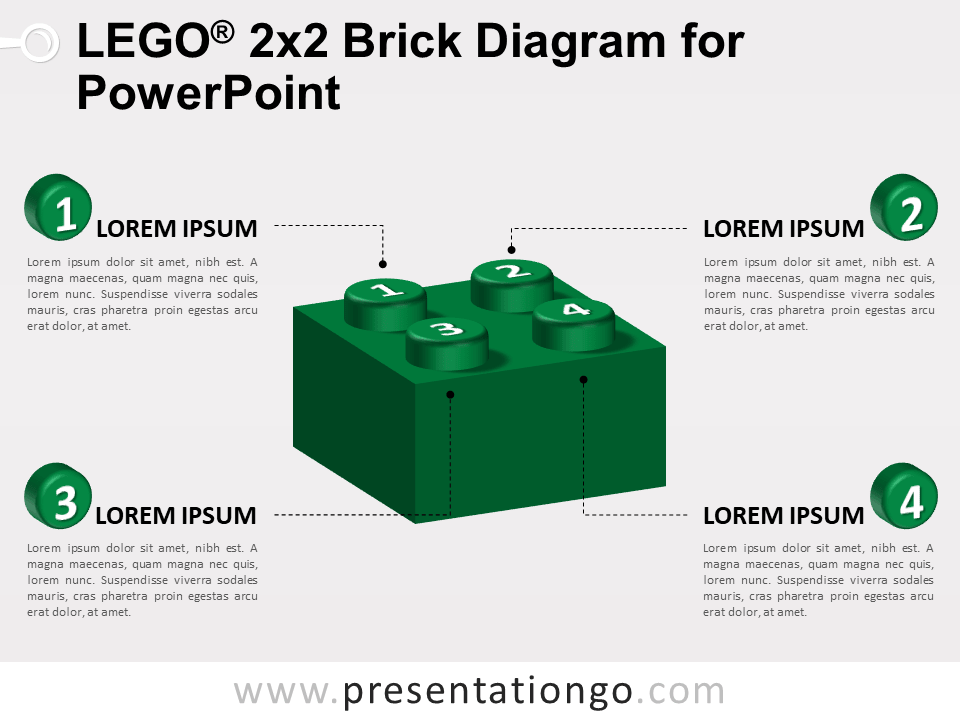 Free Lego 2x2 Brick Diagram for PowerPoint