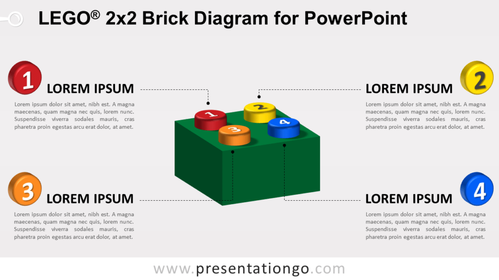 Colored Lego Brick Diagram for PowerPoint