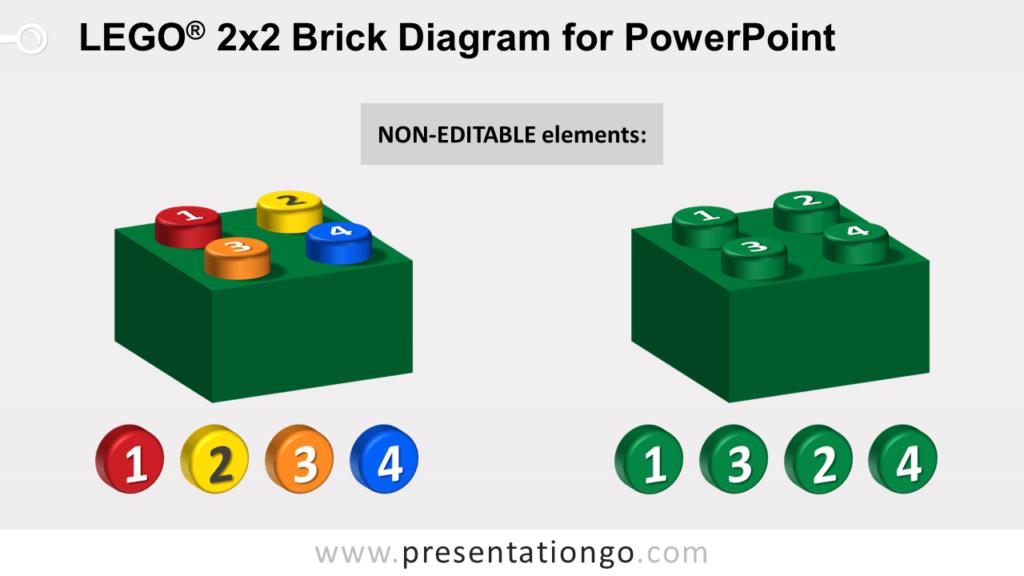 Lego Brick Diagram for PowerPoint - Not Editable Elements