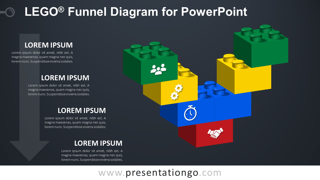 Lego Funnel for PowerPoint - Dark Background