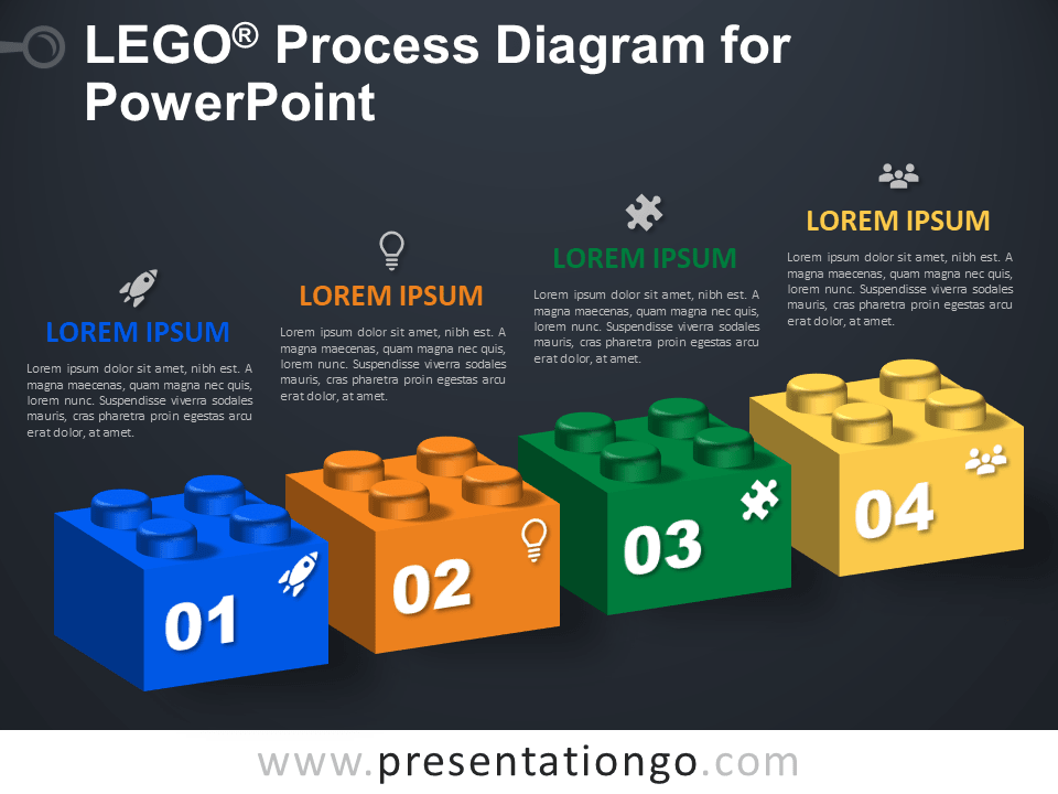 Free Lego Process Diagram for PowerPoint - Dark Background