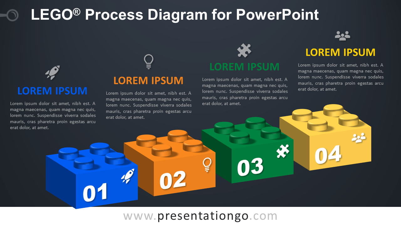 Lego Process for PowerPoint - Dark Background