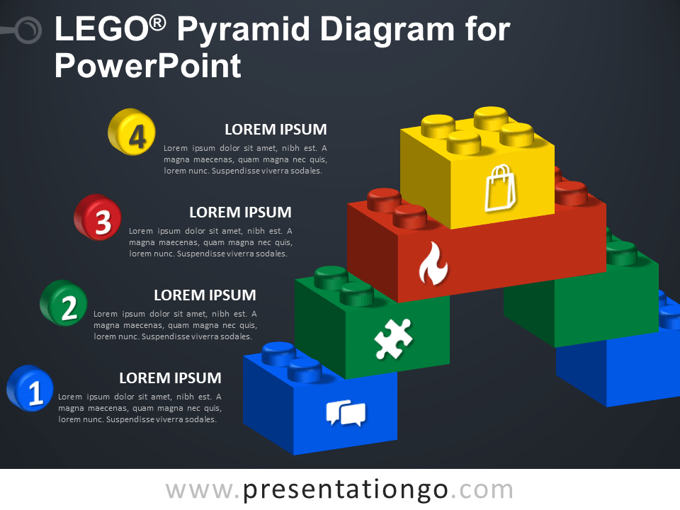 Free Lego Pyramid Diagram for PowerPoint - Dark Background