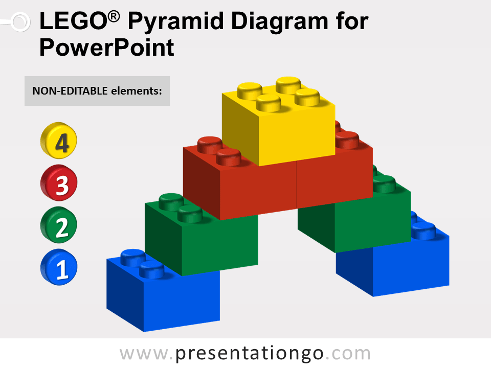 Lego Pyramid Diagram for PowerPoint - Not Editable Elements
