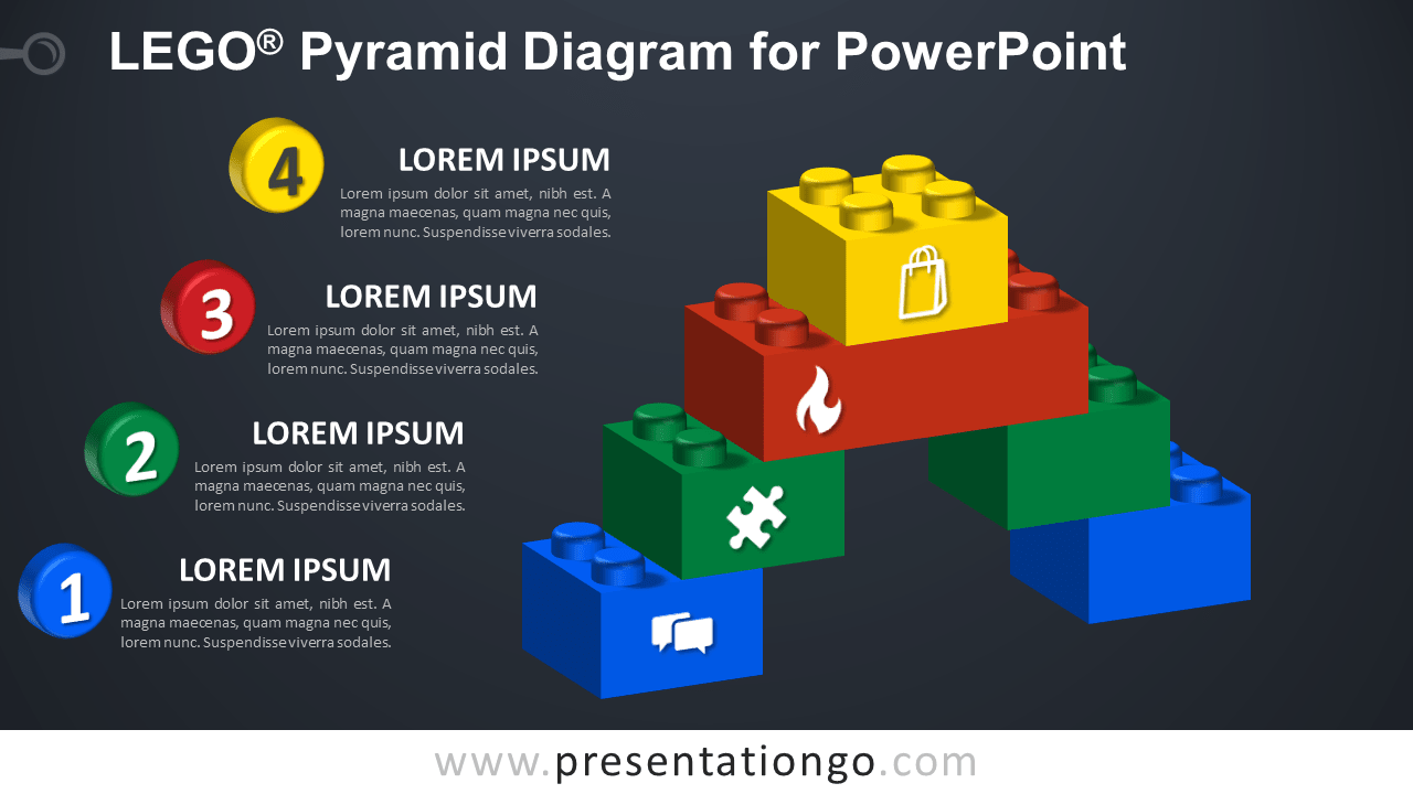 Lego Pyramid for PowerPoint - Dark Background