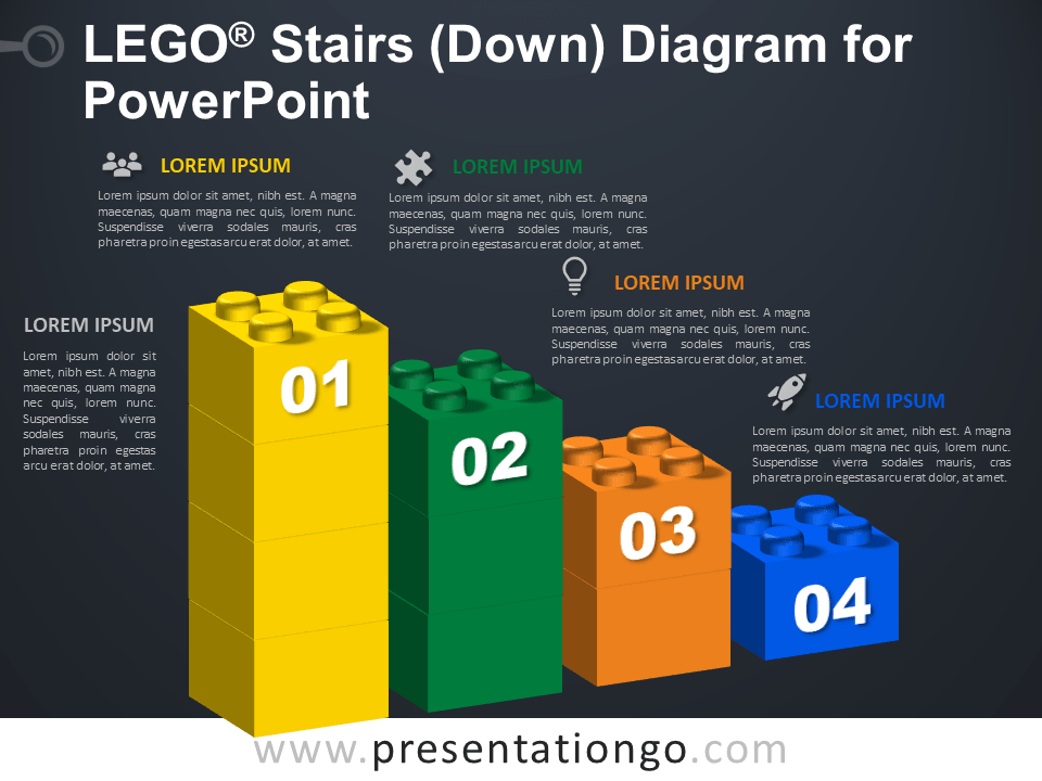 Free Lego Stairs Down Diagram for PowerPoint - Dark Background